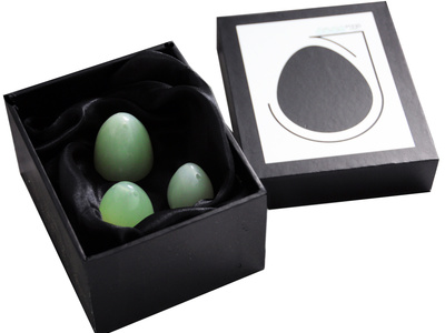 Jade eggs Set of 3 with horizontal drill hole